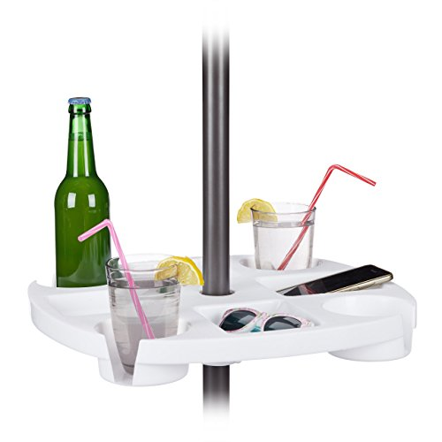 Relaxdays rund, Flaschenhalter & Ablagen, höhenverstellbar, HxD: 8x43cm, Kunststoff, weiß Stehtisch für Sonnenschirm,