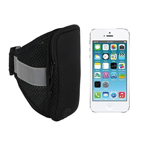 kwmobile Sport Jogging Armband für > Apple iPhone SE / 5 / 5S < mit Reißverschluss und praktischem Klettverschluss in Schwarz
