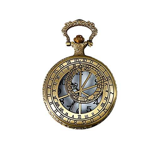 JewelryWe Taschenuhr Retro Kompass 12 Konstellationen Sternbilder Hohe Openwork Analog Quarz Uhr mit Halskette Kette Uhren Pocket Watch Geschenk Bronze