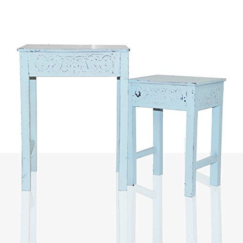 2er-Set Beistelltisch Tisch Vintage Shabby Chic Ornament