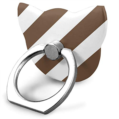 magic ship Coffee Mocha Brown Fresh White Color Large Simple Stripe Gift Present Candy Paper Pattern Ring Stand 360°Rotation Thin Universal Phone Ring Holder Transparent Finger Ring Tablets cat Shape