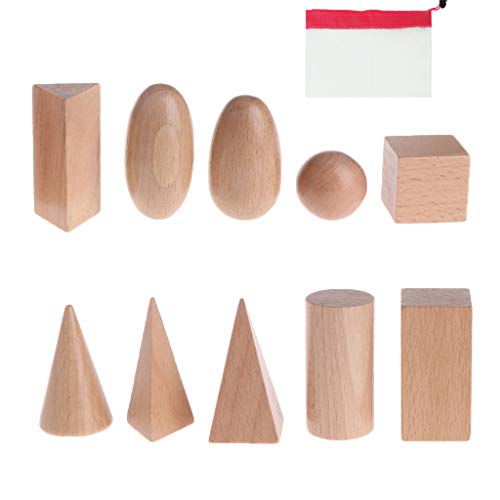 Lunji Montessori Solid Geometric Shapes with Bag - Wooden Baby Toy