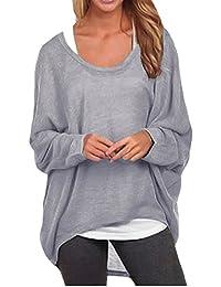 ZANZEA Damen Lose Asymmetrisch Jumper Sweatshirt Pullover Bluse Oberteile Oversize Tops