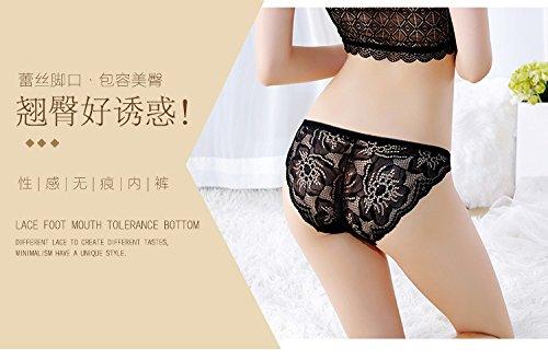Damen Unterwäsche transparent Stickerei Spitze hüftig Slips Schwarz