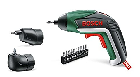 Bosch IXO Cordless Screwdriver with Integrated 3.6 V Lithium-Ion Battery and Right Angle Adapter/Easy Reach Adapter