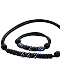 HANA LIMA ® Lederkette Armband Halskette Surferarmband Lederarmband Surferkette Schmuck Set