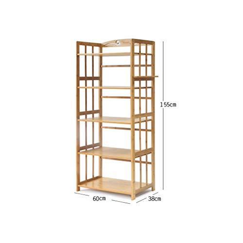Kitchen furniture - Type de plancher de cuisine de support de four à micro-ondes en bambou Etagère de stockage à supports multicouches WXP (Couleur : Five floors, taille : 60X38X118CM)
