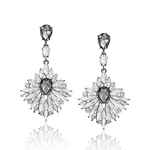 Presock Pendientes Mujer,Aretes Vintage Crystal Drop Earrings For Women Long Earring Luxury Earrings High Quality Brincos Pendientes white