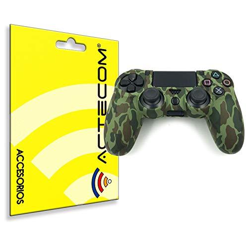 ACTECOM® Funda Carcasa Silicona Camuflaje Mando Sony PS4 Playstation 4 Camuflaje Verde