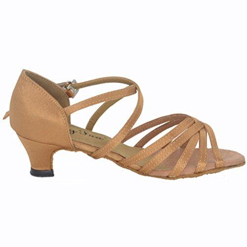 Jig Foo Sandales open-toe latine salsa Tango Chaussures de danse de chaussures pour filles avec talon 3cm Beige - peau
