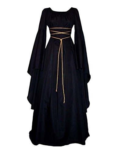 (Damen Halloween Kostüm Kleid Mit Kapuze Lose Langarm Lang Maxi Kleid Mittelalter Kostüm Schwarz 2XL)