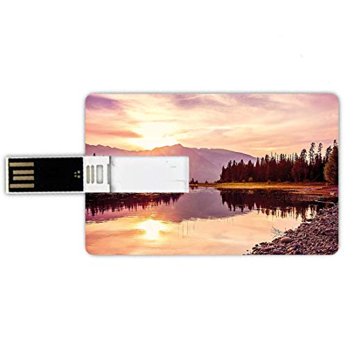 USB-Sticks 32GB Kreditkartenform Landschaft Memory Stick-Bankkartenstil Grand Teton Mountain Range bei Sonnenuntergang Jackson Lake Calm National Park USA,schwarz grau weiß, wasserdichte Stift Daumen -