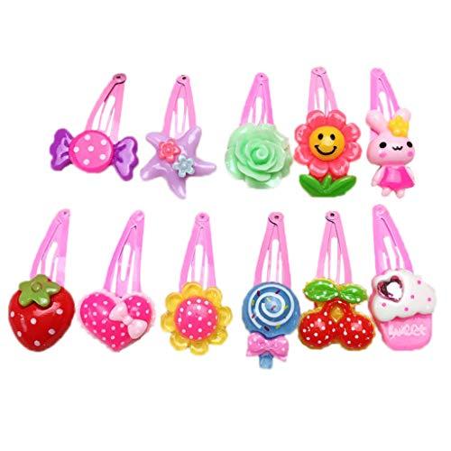 CoralStore 20 Pcs Baby Girl Cute Metal Alloy BB Hair Clips Cartoon Flower Fruit Cake Resin Snap Hairpins Colorful - Lollipop Mädchen Kostüm