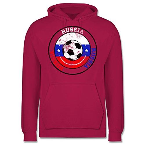 EM 2016 - Frankreich - Russia Kreis & Fußball Vintage - Männer Premium Kapuzenpullover / Hoodie Fuchsia