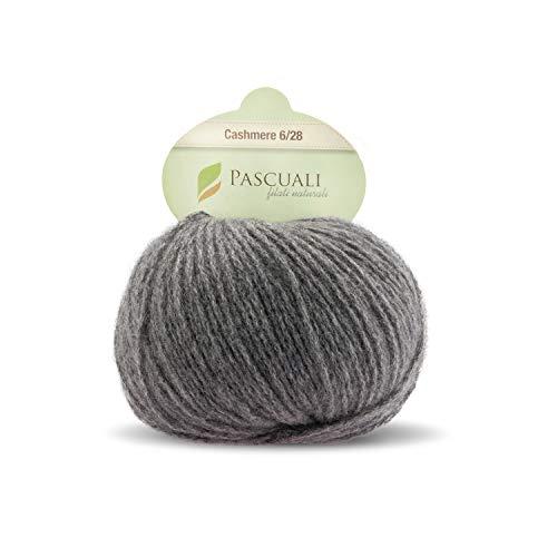 Pascuali Kaschmirwolle zum Stricken, Cashmere 6/28, 25 g, Wolle Mittel-Grau 519 -