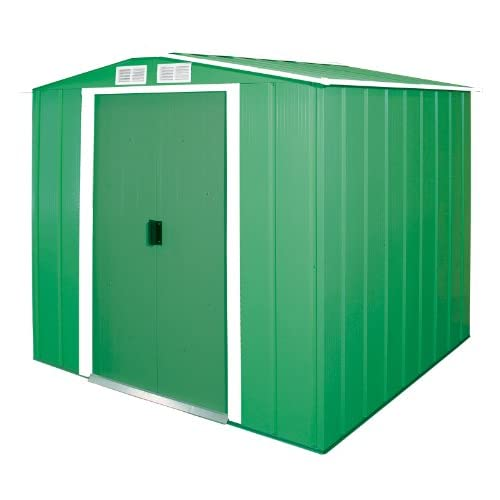 Duramax ECO Galvanized Metal Garden Shed - Green with Off-White Trimmings