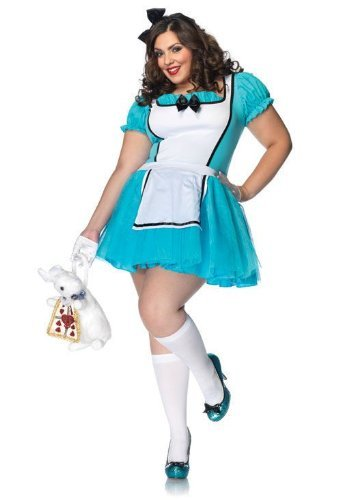 Leg Avenue 83825X - Enchanted Alice Kostüm, Übergröße 44, blau/weiß