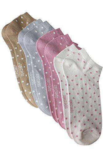 Weri Spezials Sneaker 4-er Set Punktchen in 4 Farben in Cr?me/Altrosa/Grau/Camel Gr.27-30 (5-6 Jahre) -