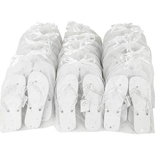 Zohula Weiß Hochzeit Flip Flops Partypaket - 20 Paare Flip-Flops 10xS (35-37) 10xM (38-39)