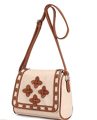 Frauen-kleine Blumen-Kissen-Beutel-Schulter-Kurier-Beutel-Kreuz-Körper-Beutel-Art- Und Weisetendenz Der Handtaschen Beige