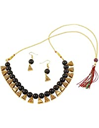 Catalyst Gold Plated Oxidized Polish Metal Black Coloured Pearl Jewellery Set For Women/Girls