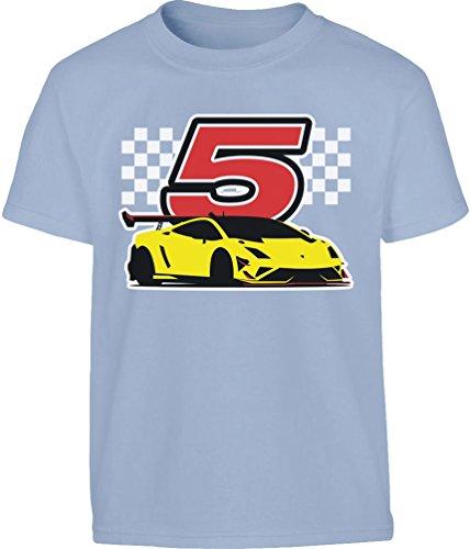 Geschenk für Jungs 5 Geburtstag mit Auto Kleinkind Kinder T-Shirt - Gr. 86-128 86/92 (1-2J) Hellblau (1 Geschwindigkeit Motor)