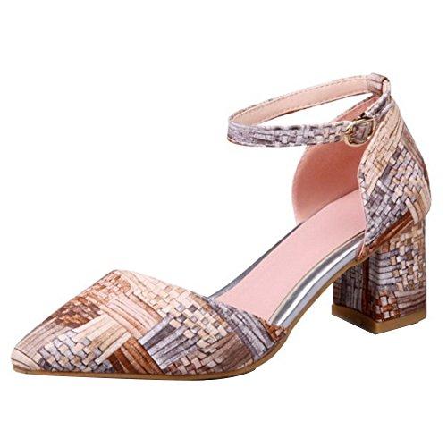 TAOFFEN Femmes Sandales Mode Bloc Talons Moyen Sangle De Cheville Chaussures Abricot