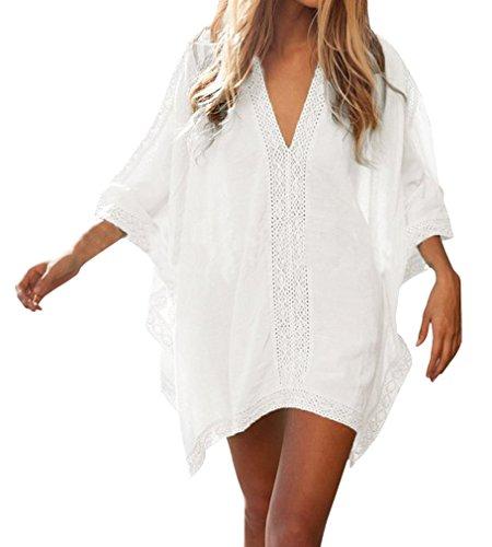 AIYUE Damen Sommerkleider Strandkleid grosse groessen Sexy V-Ausschnitt Lose Beachwear Bikini Cover Up One-Size Minikleider Oberteile Bluse, One Size, Weiss