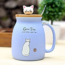 REFURBISHHOUSE Taza Resistente Al Calor de Gato Sesamo Dibujos Animados de Color con Tapa Taza de