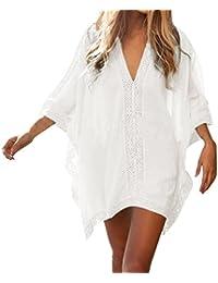 hikong Sexy Robe de Plage Chemise Boheme Chic Bikini Cover Up Caftan Sarong Wear Maillot de Bain Grande Taille Tops été