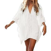Hikong Vestido Corto de Playa Verano Mangas Cortas Suelto V-Cuello Camiseta Camisola y Pareo Top Casual