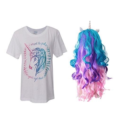 FLAMEER Mädchen Magische Einhorn Pony Kostüm Set Horn Welliges Haar Perücke Weiß T Shirt