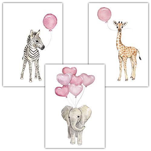 r 3er Set für Babyzimmer Deko Poster (3er Set Rosa, Elefant, Giraffe, Zebra) ()