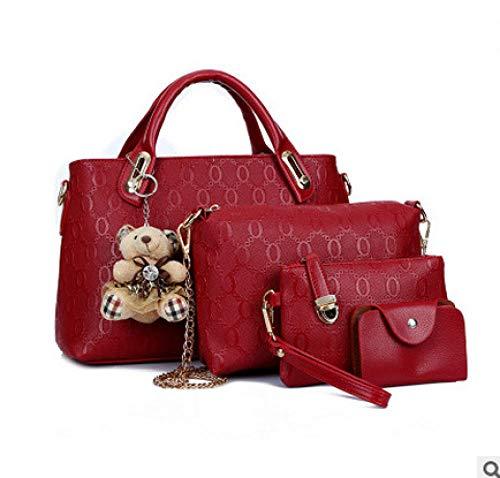 Ideale Einkaufstasche, Schulter Diagonale Handtasche_2017 Neue Trend Bär Ornamente Vier Sätze von Damen Tasche Schulter Diagonale Handtasche Großhandel @ rot