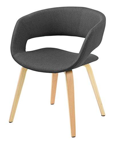 AC Design Furniture, Sedia imbottita Corsica, rivestimento in stoffa e gambe in legno Kos, Grigio (Grau)