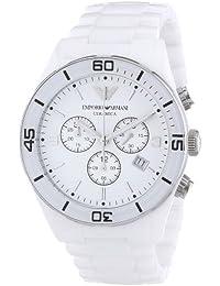 Emporio Armani AR1424 - Reloj cronógrafo de cuarzo para hombre con correa de cerámica, color blanco