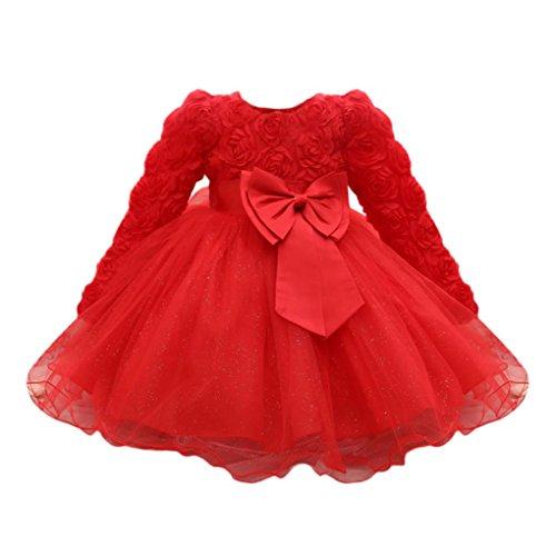 Lenfesh Baby Mädchen Blumen Bowknot Prinzessin Kleider Brautjungfer Geburtstag Hochzeit Kleid (6 Monate, Rot)