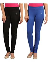 FlyColors Women's Cotton Churidar Leggings (Pack Of 2)