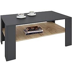 IDIMEX Table Basse Lorient, Table de Salon rectangulaire avec 1 étagère Espace de Rangement Ouvert, en mélaminé Gris Mat et décor chêne Sonoma