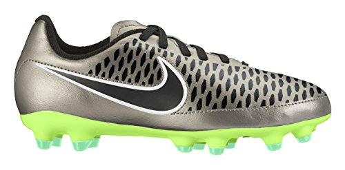 Nike Mädchen Jr Magista Onda FG Sportschuhe, Plateado/Negro / Verde/Blanco (Mtlc Pewter/Blk-Ghst Grn-White), 34 EU