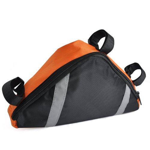 SODIAL(R) Borsa Borsetta Triangolare a Velcro Arancione per Bici Ciclismo