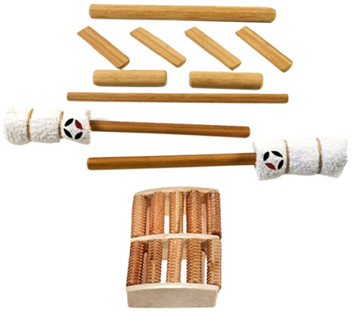 massagebyheat Massage-Set aus Bambus mit Fuß Massage–10Stück