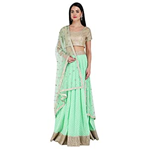 Umrao Mirza Chanderi Mint Green Lehenga and Dupatta with Gold Sequinned Blouse