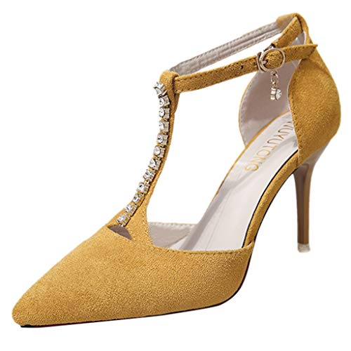 feiXIANG Damenschuhe High Heel Stiletto Pumps Sommer mit Strass Pointed Toe Sandalen Frauen Mode Freizeitschuhe (Gelb,36) -