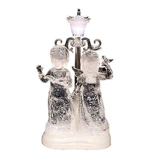 Wunderschöner LED Doppel-Engel mit Laterne und Glitterwirbel, ca. 30 cm -