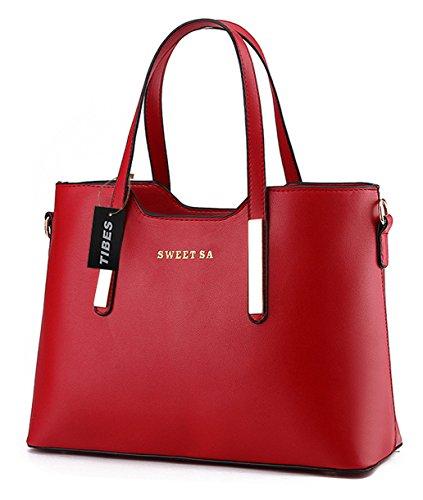 Tibes lusso PU borsa in pelle borsa a tracolla di tote di modo Vino rosso