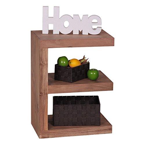 Wohnling Beistelltisch Massivholz Akazie E Cube 60 cm Wohnzimmer-Tisch Design braun Landhaus-Stil...