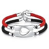 Bracelet Couple,Fascigirl Distance Couple Bracelet Coeur Combinaison Amoureux Bracelet Tressé Cordon Cristal Bracelet Saint Valentin Cadeau