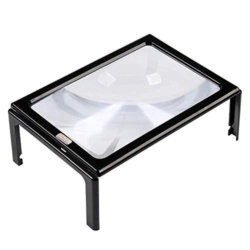 Leselupen HD Vergrößerungsglas-Vergrößerungs-3X Tischlupen-Vergrößerungsglas-Schreibtisch las alten Mann mit hellem geführtem Kasten-angebrachtem A4 großem Linsen-Rechteck HD beweglichem Vergrößerungs