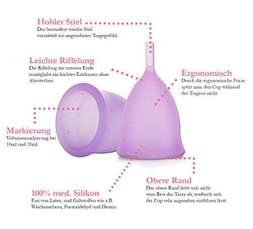 Feecup Menstruationstasse FEE SPORT Größe S - Farbe lila - 100% medizinisches Silikon, Menstruationskappe FDA zertifiziert - keine Weichmacher - besonders bei sportlichen Frauen eine der beliebtesten Menstruationskappen in DEUTSCHLAND . - 3